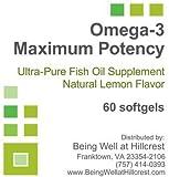Omega-3 Maximum Potency Ultra-Pure Fish Oil Supplement Natural Lemon Flavor 60...