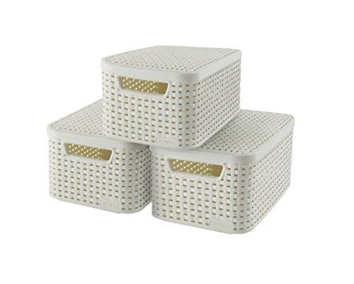 Curver 240586 - Set de 3 cestas Style con tapa, tamaño S, 7 L, color blanco