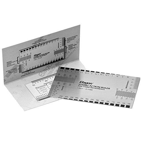 Elagon (ARL) Das Lineal zum Einstellen der Saitenlage ist ein Metalllineal im Taschenformat. Es dient dazu, die Saitenlage auf Gitarren zu messen und zu optimieren. Es ist das perfekte Werkzeug, um die Gitarre nach Ihrem persönlichen Geschmack einzustellen. Es ist einfach zu bedienen – unabhängig davon, ob Sie das zum ersten Mal machen oder schon Profi im Einstellen Ihres Instruments sind. Das Lineal kann auch für andere Saiteninstrumente genutzt werden.