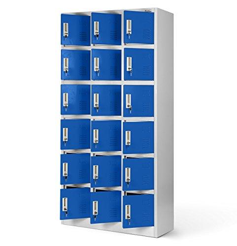 Umkleideschrank 3B6A Fächerschrank Schließfachschrank WertfachschrankMetallspind Stahlblech Pulverbeschichtung 18 Fächer 185 cm x 90 cm x 40 cm (H x B x T) (grau/blau)