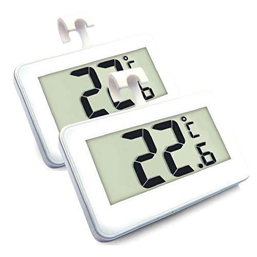 MICHAELA BLAKE Nevera Termómetro, 2 Piezas de Cubierta de temperaturas Claro Digital Display Refrigerador Congelador Monitor Pack de 2 LCD con Gancho para Colgar y Soporte retráctil