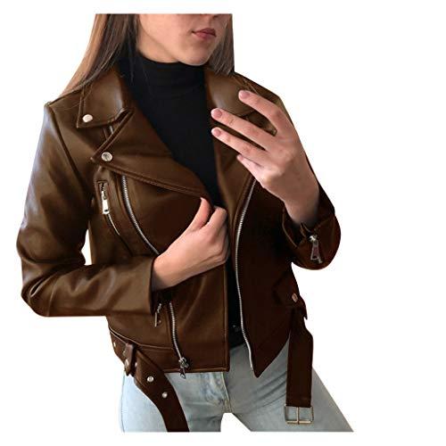 ZDJH Leren jas voor dames, effen, kunstleren jas met lange mouwen, ritssluiting, nauwe jas, herfst en winter, korte motorjas, coole vintage jas, overgangsjas, bruin, XL