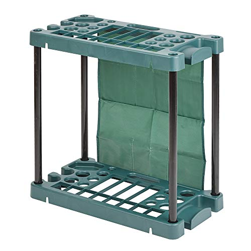 Mobile Weatherproof Garden Tool Storage Rack - Lightweight Portable Caddy - Free Standing Unit Tidy Organiser for 40 Garden Tools with Multiple Pouches - Easy Assembly, Durable Plastic