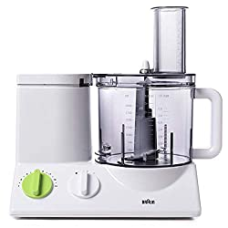 The Braun 12 cup food processor showing variable speed dials and food chute.