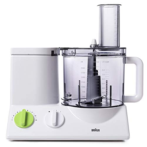 Braun FP3020 12 Cup Food Processor Ultra Quiet Powerful motor, includes 7 Attachment Blades + Chopper and Citrus Juicer , Made in Europe with German Engineering