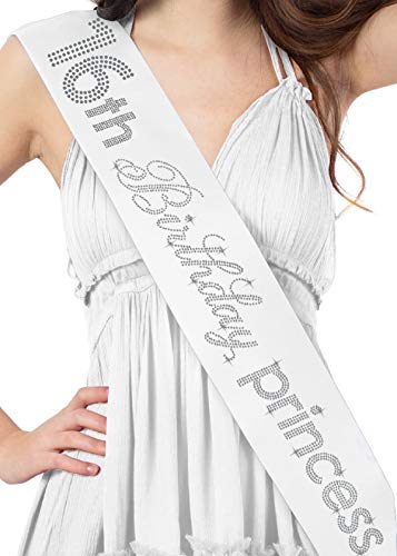 Sweet 16 Sash 16th Birthday Princess Rhinestone Sash - Birthday Party Gift White Sash(16.Bdy.Prnc RS) WHT
