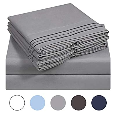 VERZEY Bed Sheet Microfiber 1200tc Soft Brushed Cooling Lightweight Wrinkle, Tear, Fade-Resistant Deep Pocket(Gray, Queen, 6 Pieces)