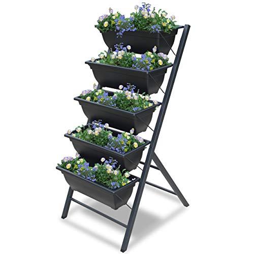 Vertical Garden Planter - 5 Tiered Raised Garden Box -3 3/4 feet high - Indoor or Outdoor planters for Flowers, Herbs, Vegetables or Seeds - Garraí