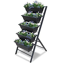 Vertical Garden Planter - 3 3/4 feet high 5 Tiered Raised Garden Box - Indoor or Outdoor planters for Flowers, Herbs… 4 VERTICAL PLANTER SIZE freestanding: 45 (H) x 21 5/8 (W) x 24 (W) inches. PLANTER BOX 6 1/4 (H) x 19 1/2 (W) x 8 1/4 (D) inches. REMOVABLE PLANTER BOX: Five (5) planter boxes are easily removable (just lift out) from frame to allow various re-arrangements and easy repotting. No more reaching too high or too low to plant your favorite arrangements. Remove the planter box and tend to your plants at your own comfort. Good for seniors to continue gardening. EASY ASSEMBLE in minutes. STYLISH plant décor. Perfect for small spaces, patio planter, balcony planter, or herb planter. The charcoal color of the frame and containers allows for your flowers colors to shine.