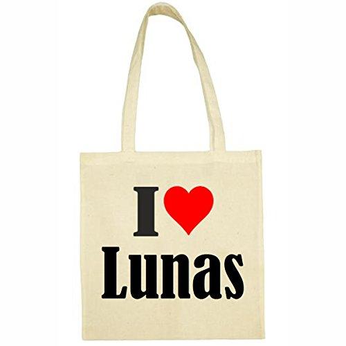 Tasche I Love Lunas Größe 38x42 Farbe Natur Druck Schwarz