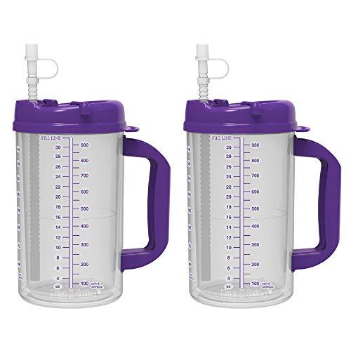 32 oz Double Wall Insulated Hospital Mug - Cold Drink Mug - Large Carry Handle - Includes Straw (2, Purple)