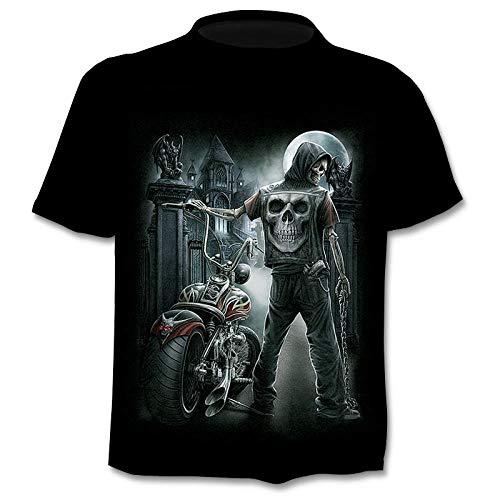 Herren Hemd Kurzarm Mechanische Motorrad Schädel Junge T-Shirt männlich 3DT Shirt kurzärmelig Rundhals Digitaldruck lässig kurzärmelig-Color_5XL