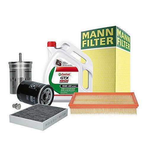 Inspektionspaket MANN-FILTER + 5L Castrol GTX 5W40 Filterset Service-Set SET P-H-05-00134 Service/Wartung