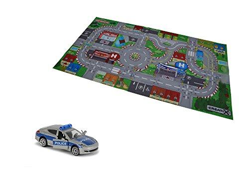 Majorette 212056411 Creatix Playmat S.O.S/City, Spielmatte, 96x51,2cm, inkl. Porsche Panamera in Polizei-Optik, Die-Cast, 7,5cm