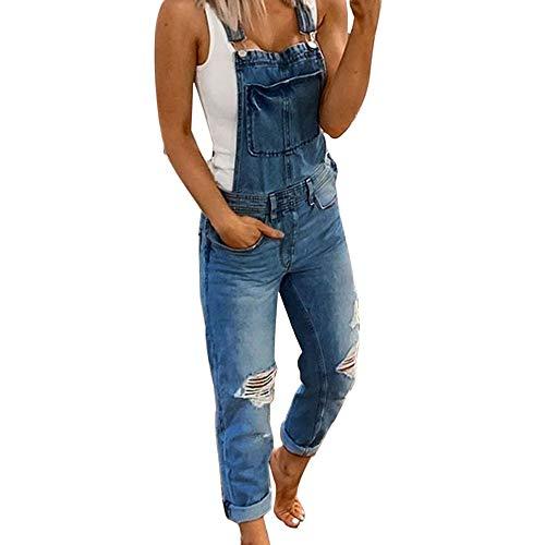 Shujin Damen Latzhose Retro Jeanshose Trägerhose Hoseanzug Denim Overall Gerades Bein Zerrissen Lang Trägerhose Ärmellos Skinny mit Taschen