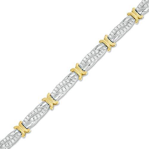 SLV Pulsera de diamantes de corte redondo alternante en X y bypass chapado en oro 925 de 10 quilates de 1 CT. T.W. D/VVS1
