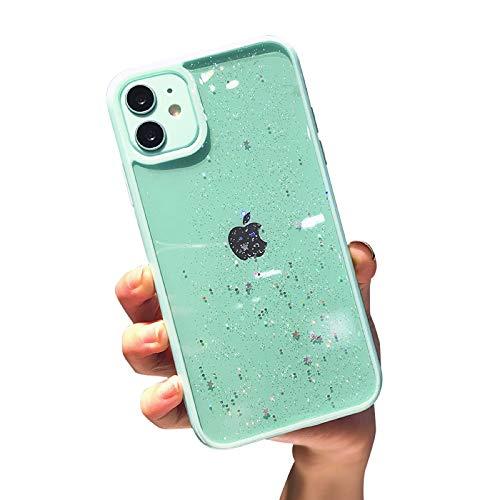 VUTR Bonita Funda con Purpurina para iPhone 11, Parte Trasera Transparente [Paragolpes Protectores de Lentes] Funda de teléfono con paragolpes a Prueba de Golpes para iPhone 11 - Menta