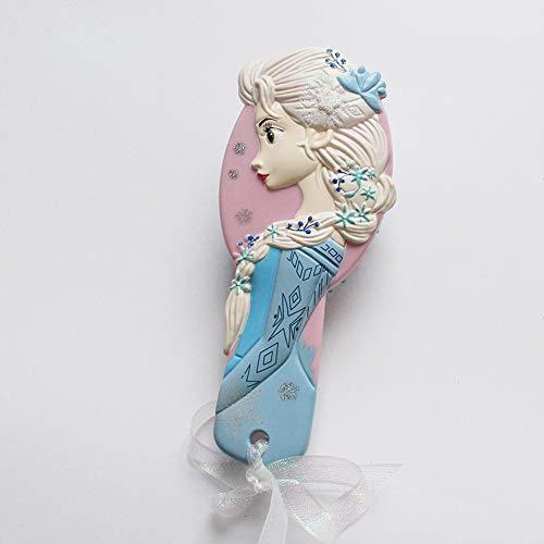 Kinder-Haarbürste,Original Haarbürste,Antistatischer Massage-Haarkamm,Pneumaticbürste,Cartoon Kamm,1er Pack (Elsa- Seitenfläche)
