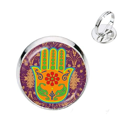 Vintage Hamsa mano ajustable anillos de cristal del mal ojo cabujón chapado en oro 2 anillos de color encantos joyería de Fátima para regalo