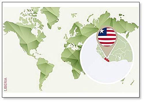 Kühlschrankmagnet Weltkarte mit Liberia & Flagge