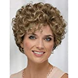 Baruisi Short Curly Wavy Blonde Brown Wigs for Women Natural Looking Synthetic Hair Replacement Wig