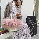 QFWN Pelo Largo Moda Bolso de la Piel de Cordero Rizado Mongol verdadera Tibetano de Piel de Oveja de Piel de Cabra Bolso Crossbody Hombro Bolsa de Playa de la Paja (Color : Pink)