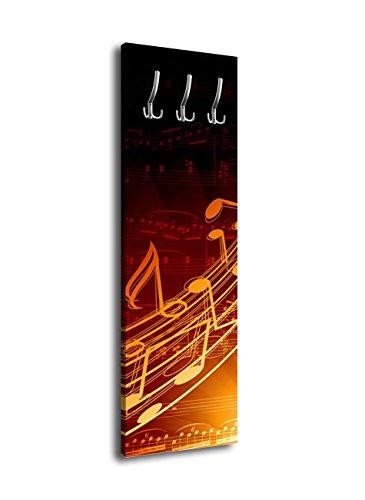 Perchero de pared con diseño musical G352 40 x 125 cm Perchero de pared Noten Sonido Melodie