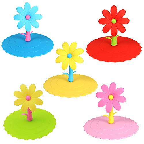 5 Piezas Tapas de Silicona en Forma de Flor, Tapas Creativas para Tazas de Bebidas,...