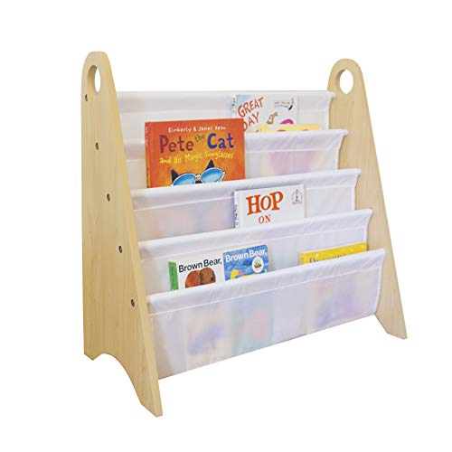 Wildkin Kids Modern Sling Bookshelf for Boys and Girls, Wooden Design Features Two Top Handles and Four Fabric Shelves, Helps Keep Bedrooms, Playrooms, and Classrooms Organized (Natural and White)