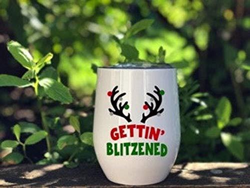Vaso de vino de acero inoxidable de 12 onzas - Vaso de vino con aislamiento de Getting Blitzened Vaso de vino, vaso de Navidad, vino, cóctel, reno, cuernos, regalos divertidos, vaso de vino calcomanía
