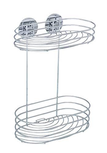WENKO Turbo-Loc® Wandregal 2 Ablagen - Befestigen ohne bohren, Stahl, 23.5 x 32.5 x 13.5 cm, Chrom
