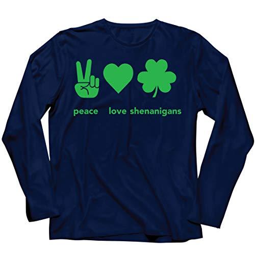 lepni.me Camiseta de Manga Larga para Hombre Paz y Amor Shenanigans Regalo para la Fiesta del Da de San Patricio en Irlanda (S Azul Multicolor)