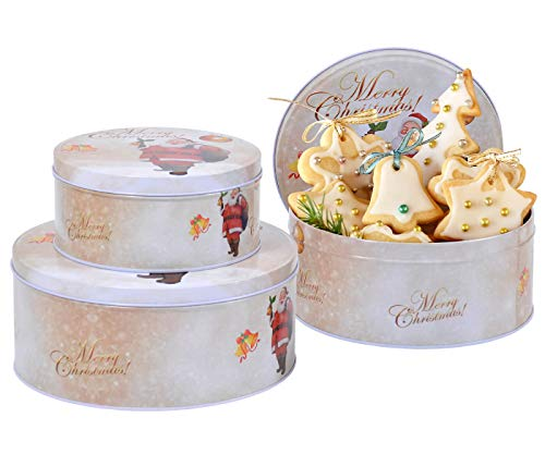 Set de 3 Latas de Galletas Blanco con Diseño Navideño y Merry Christmas Cajas Redondas de Metal Botes para...