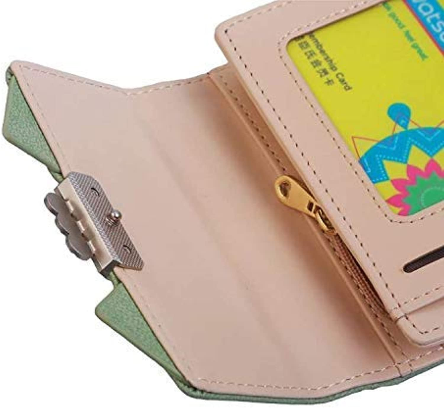 Fashion Cute cat Ears Short Wallet Vintage Ladies MultiFunction Student Wallet Purse (color   Green) Ladies Purses (color   Green)