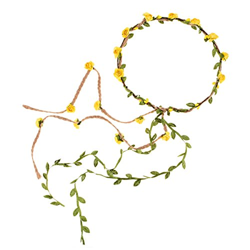 DDazzling Flower Crown Floral Wreath Headband Floral Garland Headbands photo props (Yellow and Green)