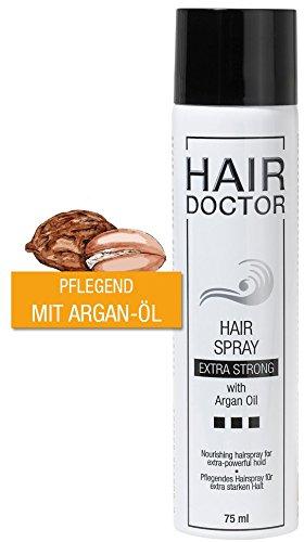Hair Doctor Hair Spray Extra Strong mit Arganöl Schutz und Pflege Geschmeidigkeit und Glanz ohne zu Beschweren Feuchtigkeitsbeständig langanhaltendes Finish praktische Reisegröße 75ml