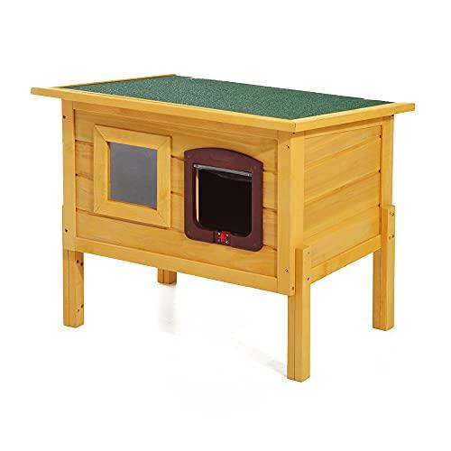 PawHut Garden Wooden Cat House Outdoor Pet Play Home Water-resistant Roof...