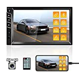 """Double Din Car Stereo Bluetooth Car Radio with 7""""HD Touch Screen Car MP5 Player FM Radio Receiver Support Rear View Camera Input SWC Mirror Link AUX in USB TF Multimedia Player with Rear View Camera"""