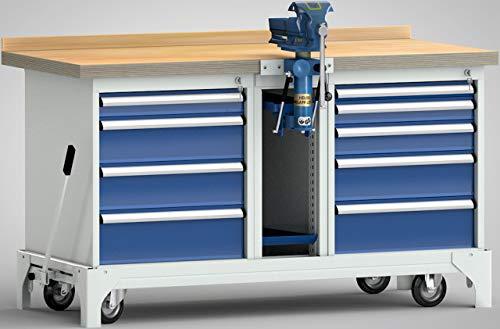 KLW Profi-Werkbank fahrbar Industriewerkbank 1700x700x871 mit 9 Schubladen 1 Heuer Schraubstock und Lift