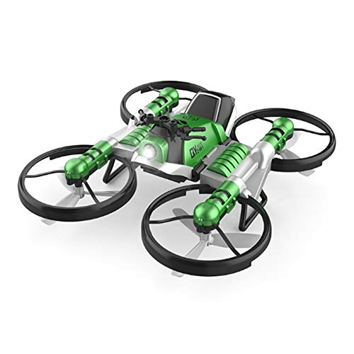 Fransande FPV RC Drone Motorcycle 2 nel 1 Pieghevole Elicottero WiFi Camera 0.3MP Altitude Hold RC Quadcopter Moto Drone Gift Toy-Green