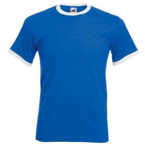 Fruit of the Loom - Camiseta de Manga Corta con Bordes Hombres (Grande (L)/Azul Royal/Blanco)