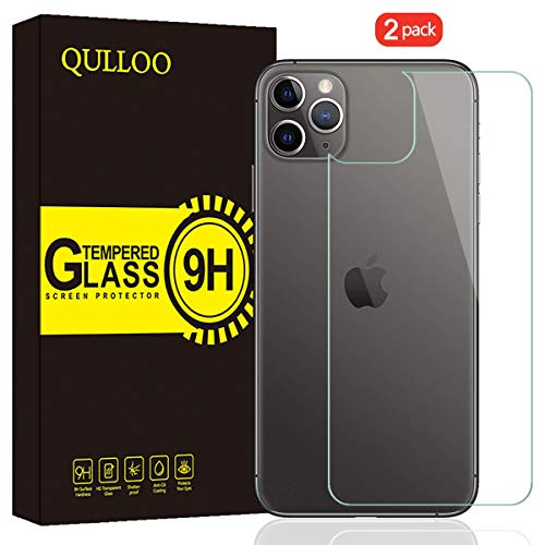 QULLOO Pellicola per iPhone 11 PRO Back Pellicola Protettiva Posteriore Full Coverage Vetro Temperato Anti-graffio Copertina Completa per Apple iPhone 11 PRO 5.8' 2019-2 Piezas