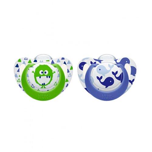 NUK Genius Color Kiefergerechte Silikon-Schnuller, für Jungen, BPA-frei, Alter 0–6 Monster/Wal, 2 Stück