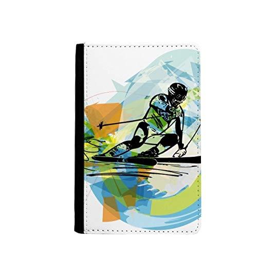 Porte-passeport pour athlètes de ski et sports freestyle aquarelle