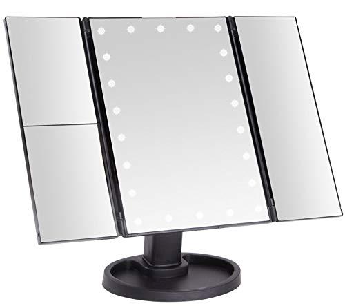 Bingo-Shop Kosmetikspiegel mit LED Licht Tischspiegel mit 2X und 3X Vergrößerung Rasierspiegel Schwarz Schminkspiegel mit Bleuchtung und Dimmbarer Helligkeit für Schminken Rasieren Gesichtspflege
