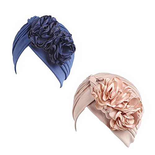 Gorra Beanie De Tela con Flor Color Liso Turbante para Cabeza De Mujer para Cáncer Quimioterapia Chemo Oncológico Noche Pèrdida de Pelo Cabello 2 Unidades (Crupo J, 2)