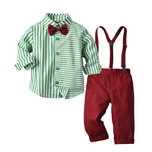 Julhold Kleinkind Baby Jungen Hübscher Herr Fliege Solide Baumwolle Slim T-Shirt Tops + Hosenträger Hosen Outfits 0-5 Jahre