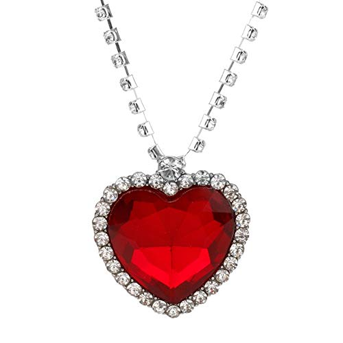 HMOOY Titanic Heart of The Ocean Necklace Silver Plated Blue Crystal Created Sapphire Pendant Large Heart of The Ocean Necklace Jewelry (Red)