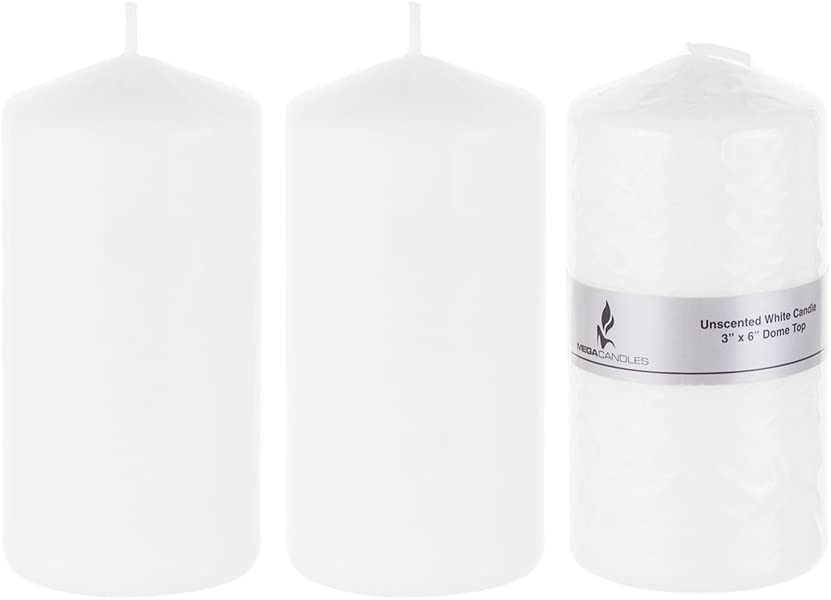 Home D/écor Celebrations Wedding Receptions Party Favors /& More Mega Candles Unscented White Round Pillar Candle Birthdays Pressed Premium Wax Candles 2 Inch x 3 Inch Baby Showers