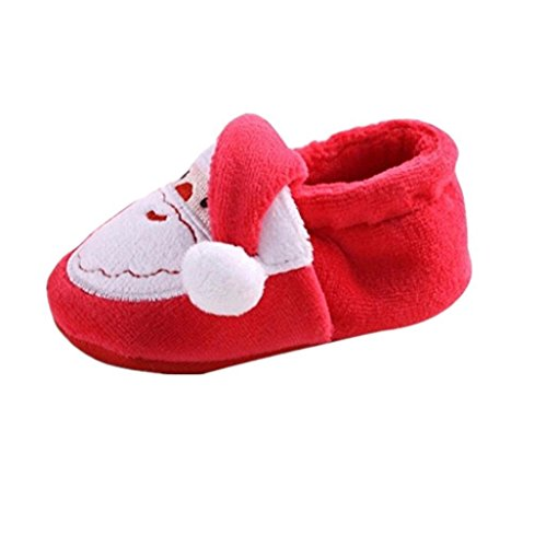 Auxma Baby Weihnachtsschuhe, Weihnachten erste Wanderschuhe,Winter Baby Jungen Mädchen Santa Weiche Sohle Prewalker Schuhe für 0-18 Monate (11cm/0-6 Monate)